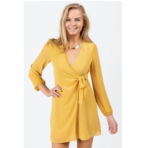 ROW A Nordstrom Earlene Wrap Dress Mustard XL